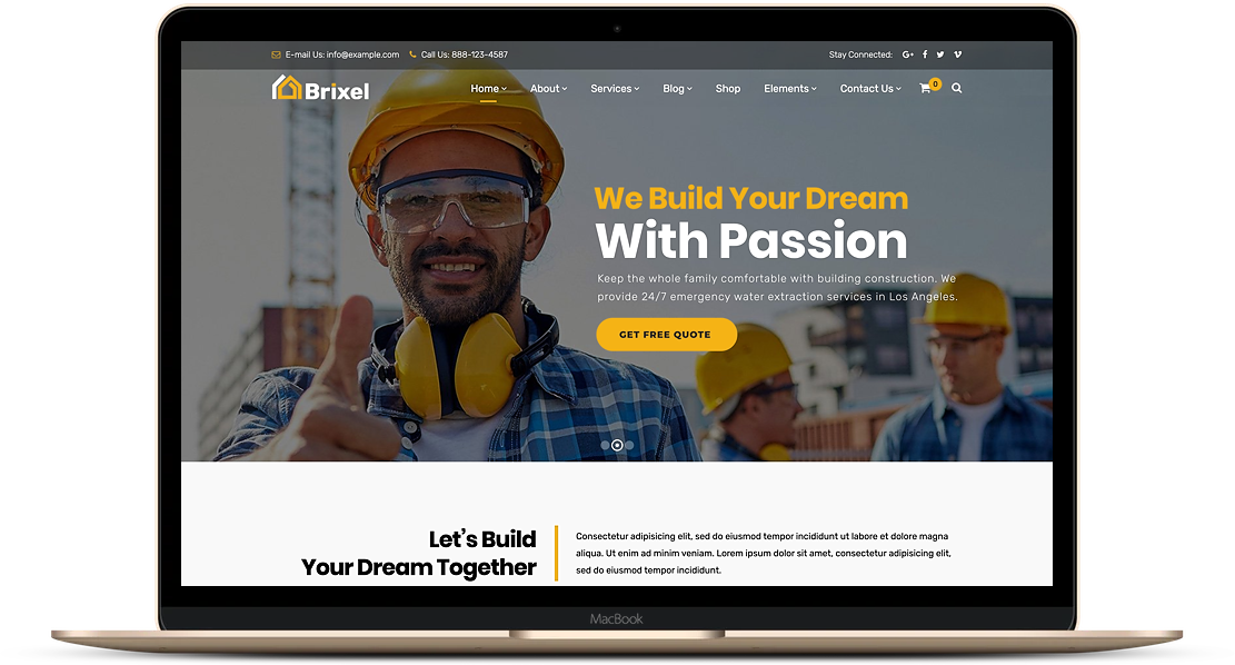 construction website on laptop