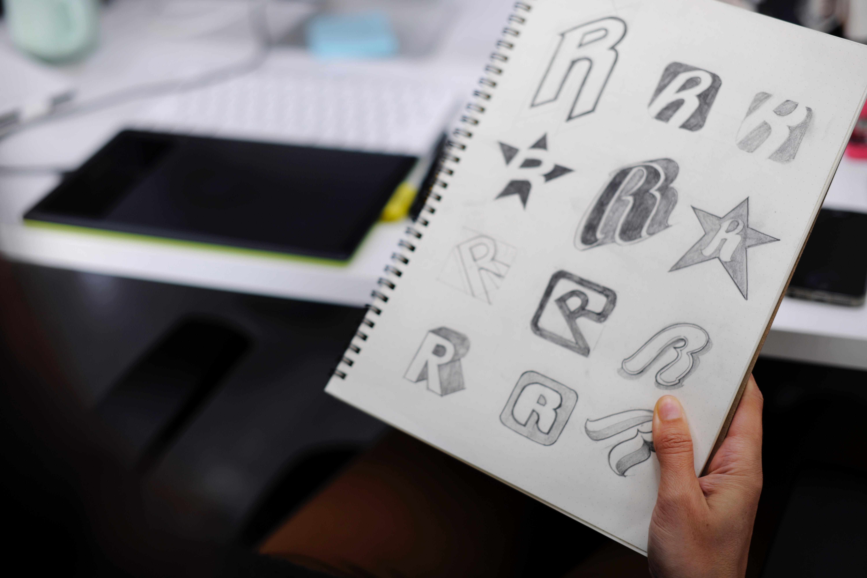 sketch pad with logo designs